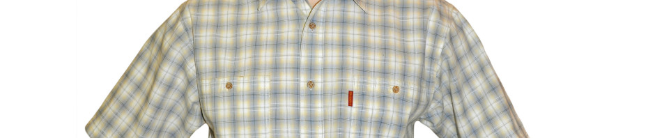 Рубашка в среднюю желто-серую клетку с тонкой полосочкой. Большого