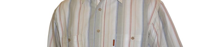 Мужская рубашка в толстую бело-бежевую полоску и тонкую сине-красную