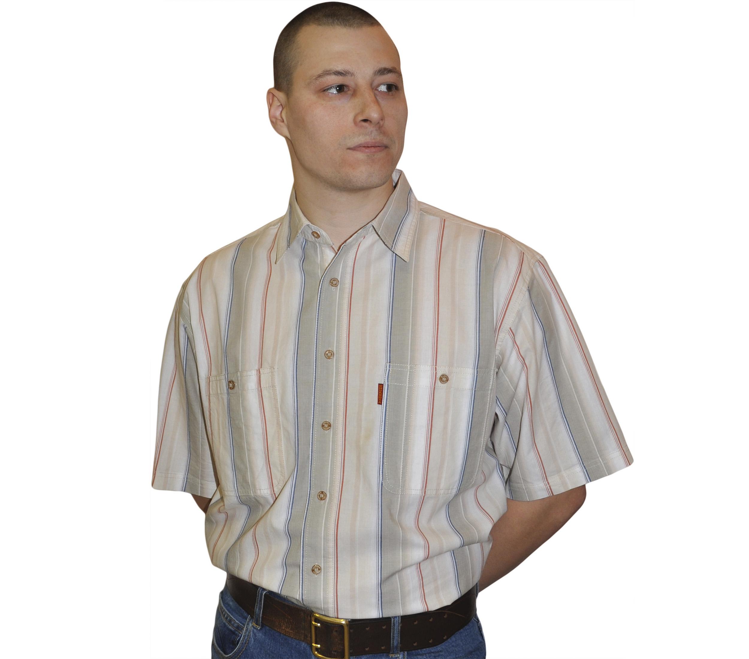 997f9525b74 Мужская рубашка в толстую бело-бежевую полоску и тонкую сине-красную