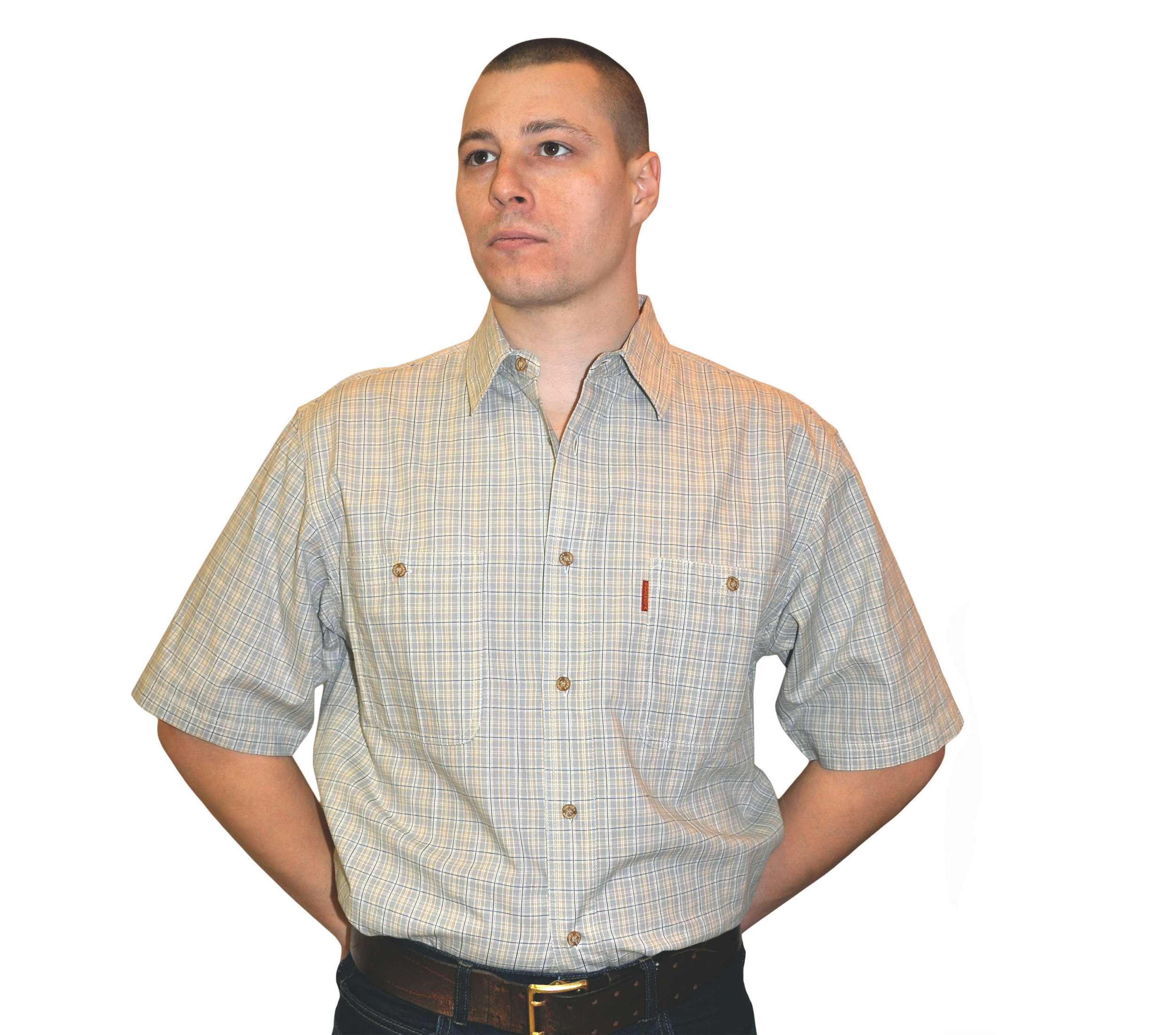 Рубашка в мелкую сине-серую клетку с темно синей тонкой полосой