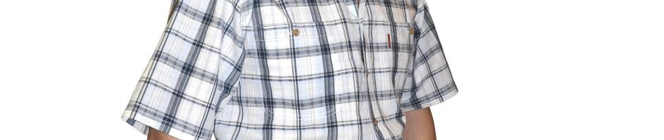 Рубашка в крупную серо-белую клетку. Модель большого размера