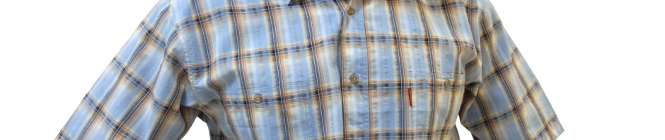 Мужская рубашка в крупную голубую с оранжевым клетку с серой полосой