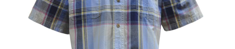 Рубашка в крупную сине-серую клетку с желто-красной полосой