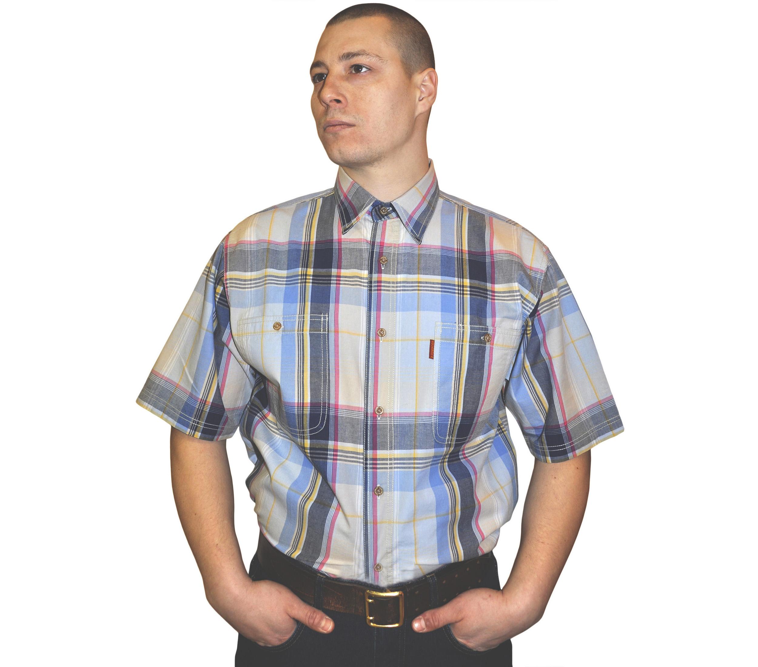 Мужская рубашка в крупную сине-желто-красную клетку с серо-синей полосой