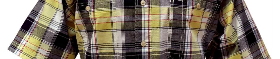 Рубашка в крупную желто-синюю клетку с темно красной тонкой полосой