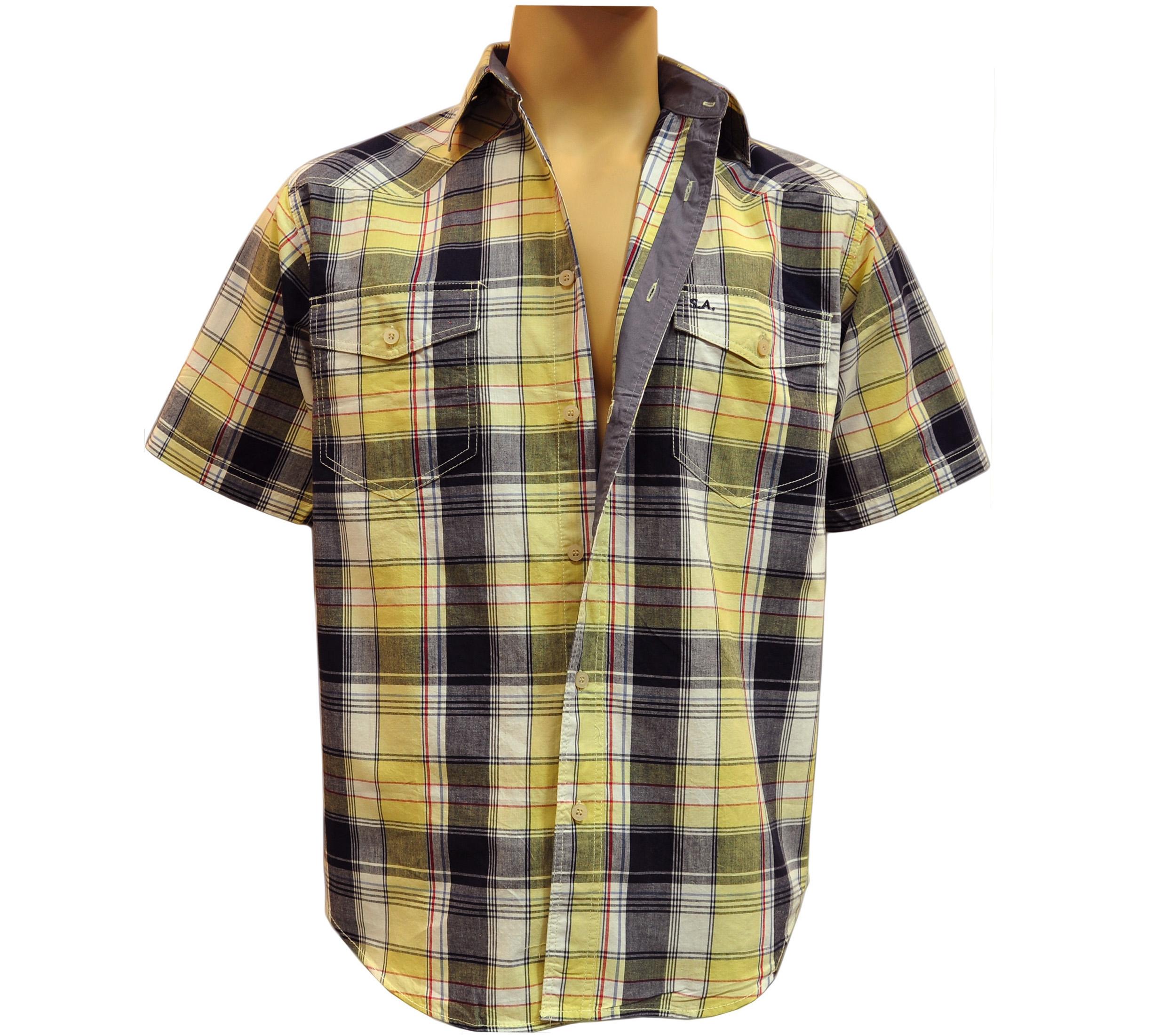 Мужская рубашка в крупную желто-синюю с зеленым оттенком клетку