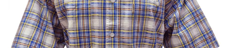 Мужская рубашка в крупную сине-желтая клетку с оранжевой полосой