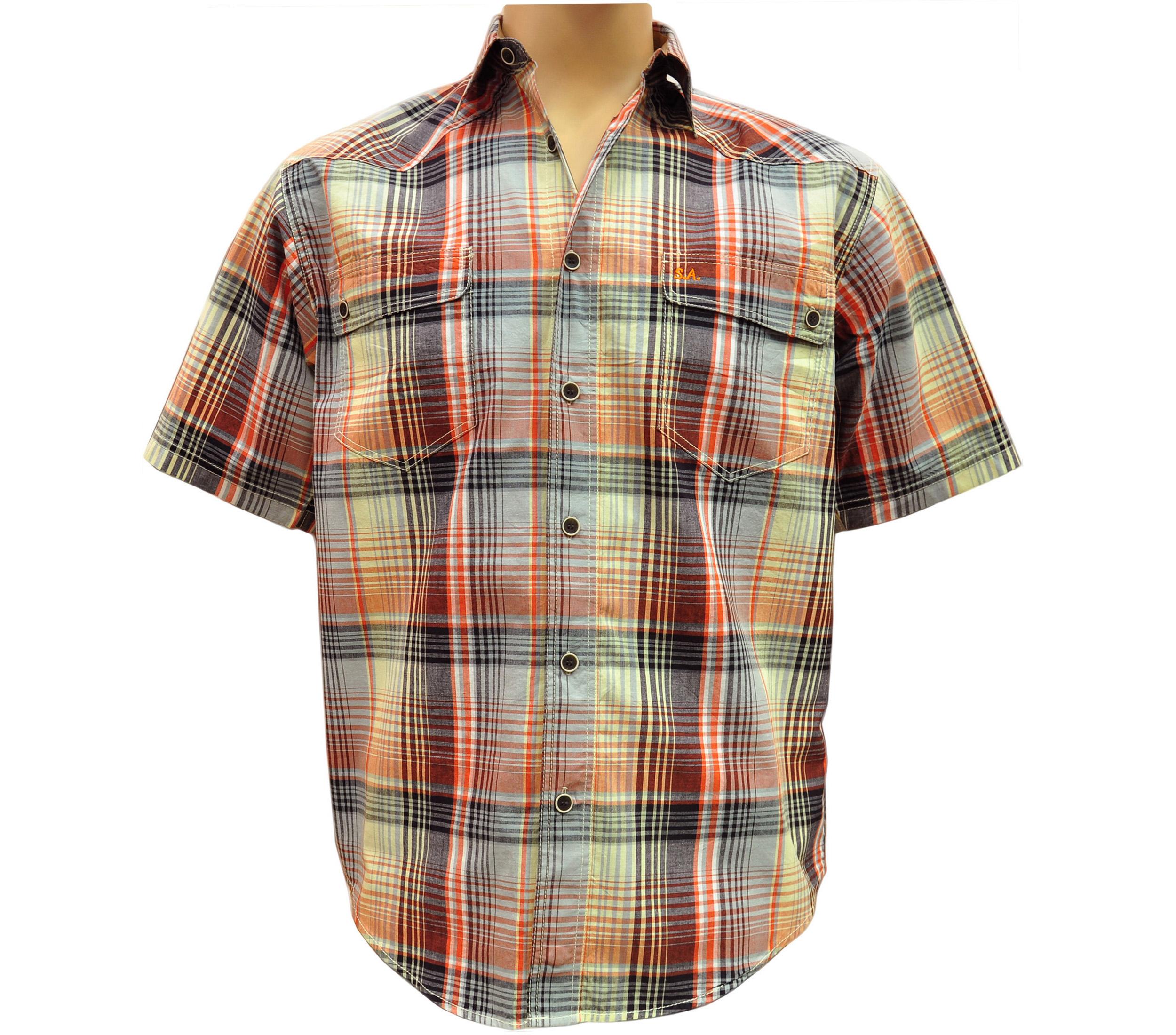 Мужская рубашка в крупную желто-красную с зелено коричневым