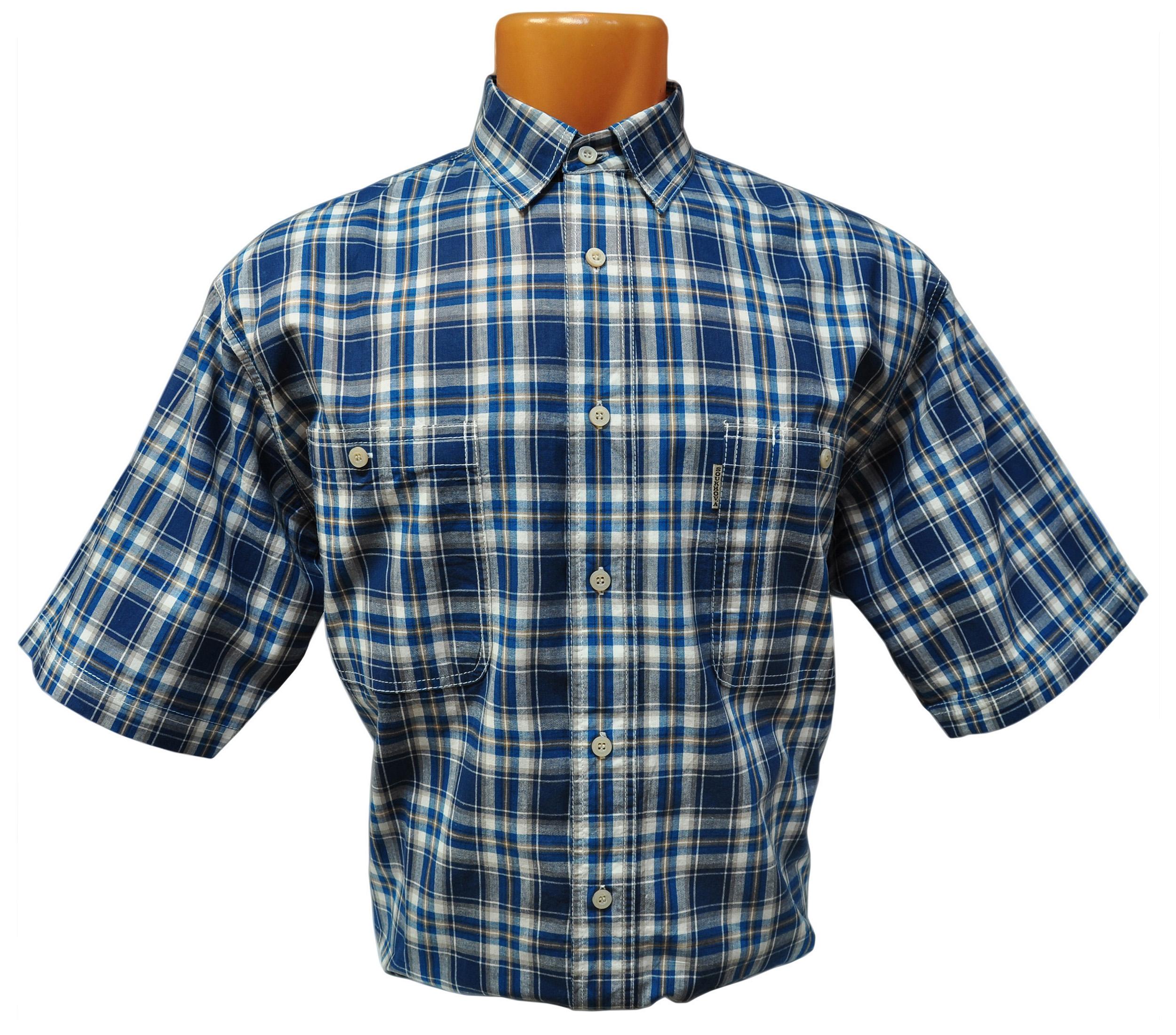 Мужская рубашка в среднюю зелено-бежевую клетку с светло-коричневой