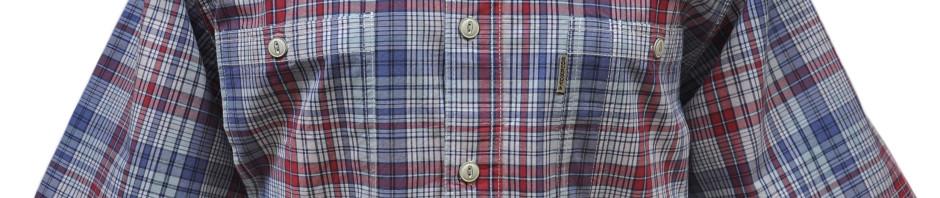 Мужская рубашка в мелко красно-синюю клетку. Модель