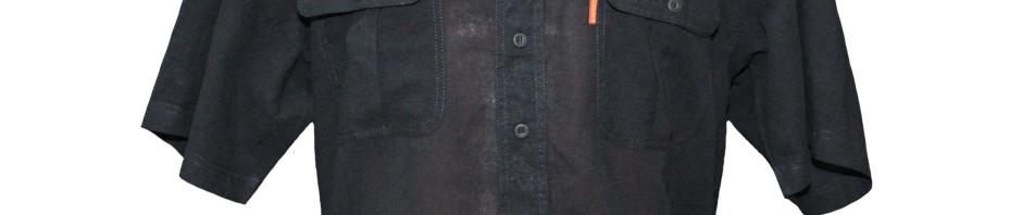 Рубашка с коротким рукавом тонкого материала черного цвета