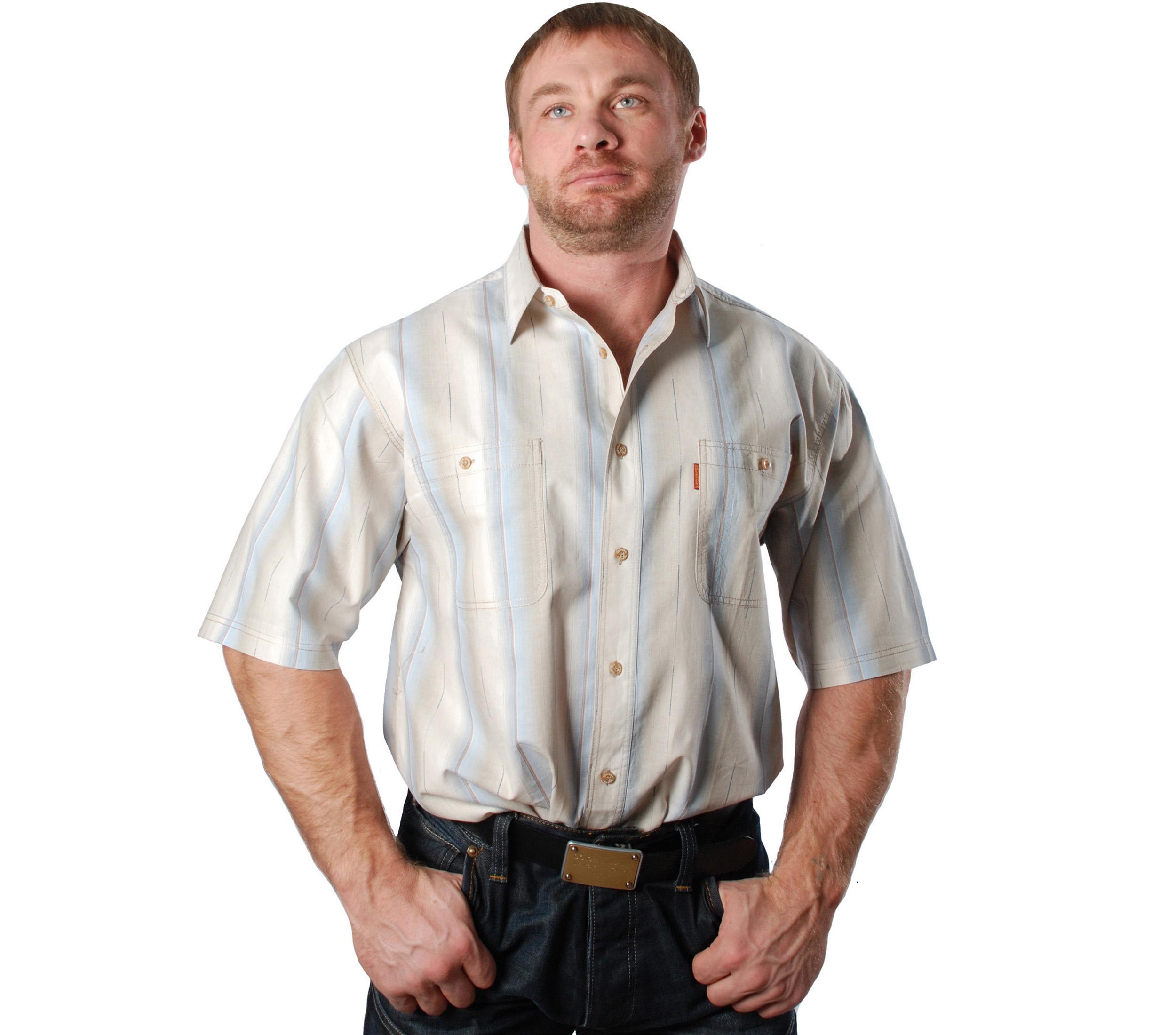 Джинсовая рубашка в толстую бежево-голубую полосу и тонкую коричневую и синюю