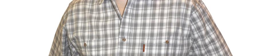Мужская рубашка с коротким рукавом средняя серо-белая клетка