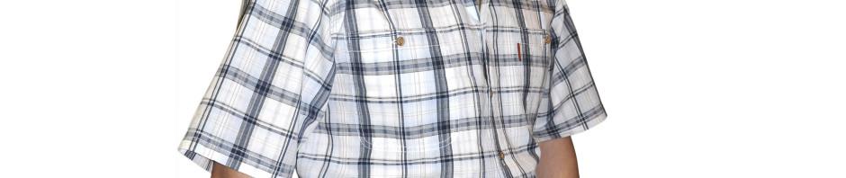 Рубашка с коротким рукавом средняя серая клетка. Модель очень большого размера