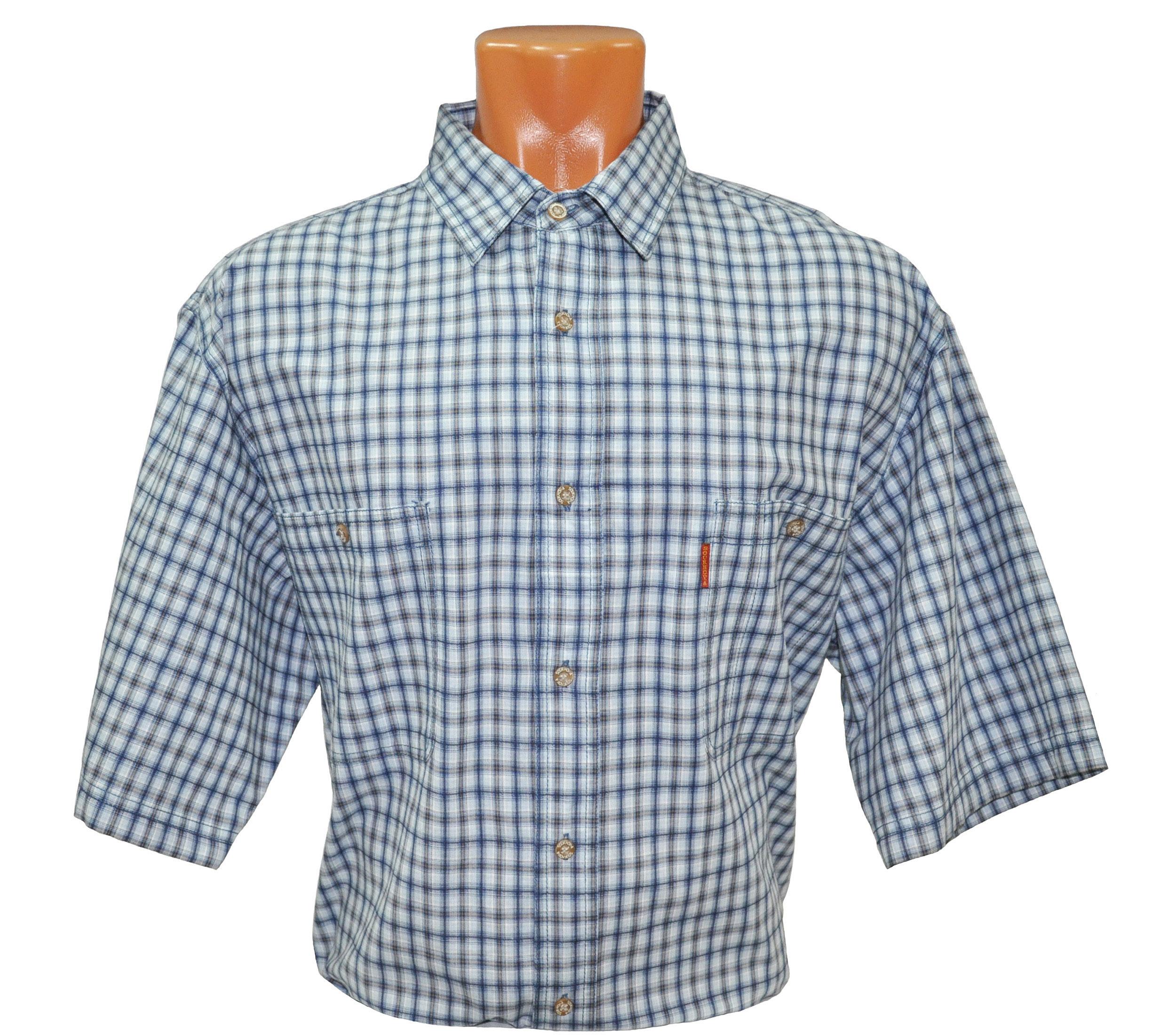 Рубашка с коротким рукавом мелкая сине-серая клетка. Модель