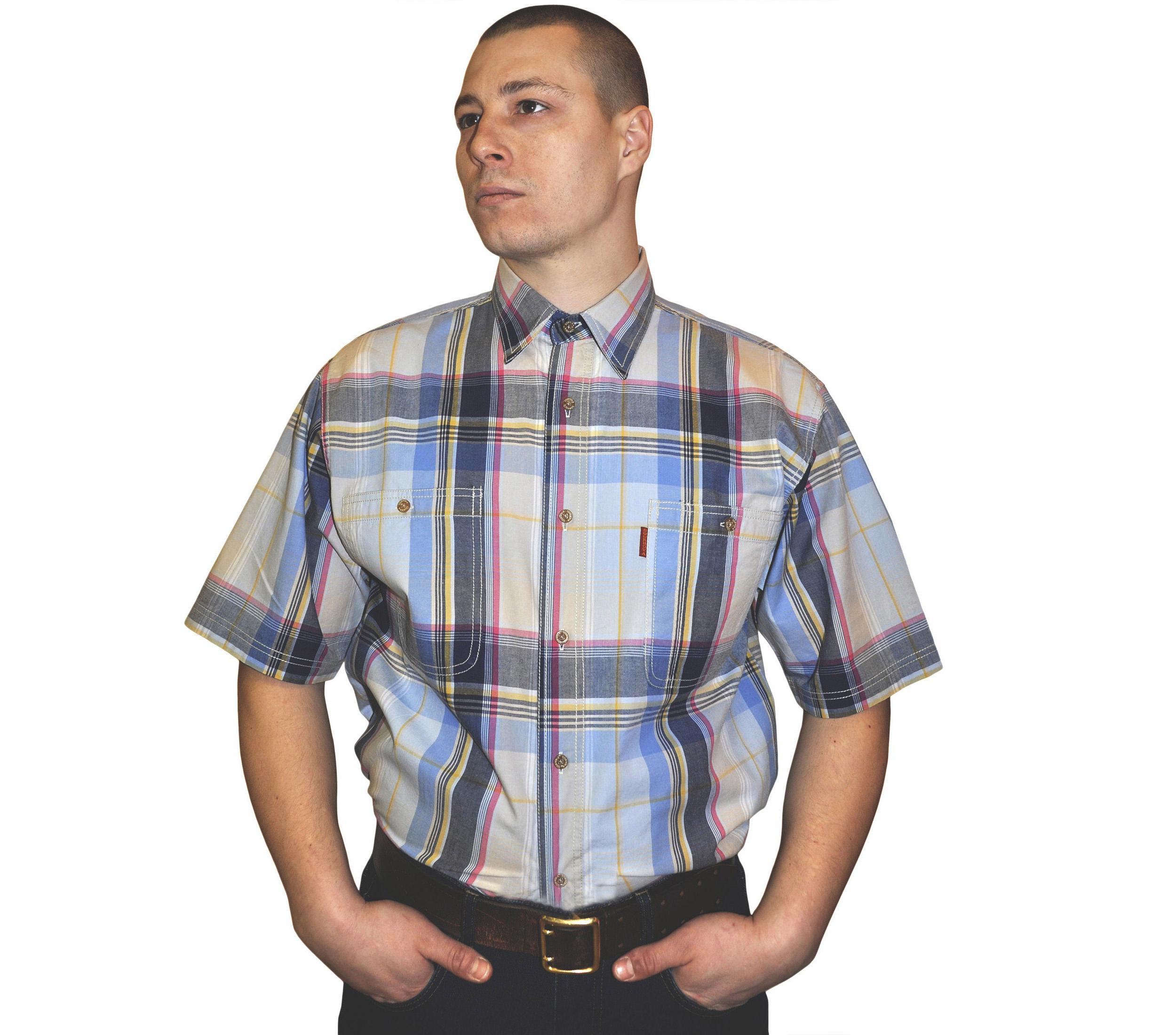 Рубашка с коротким рукавом сине-желтая крупная клетка