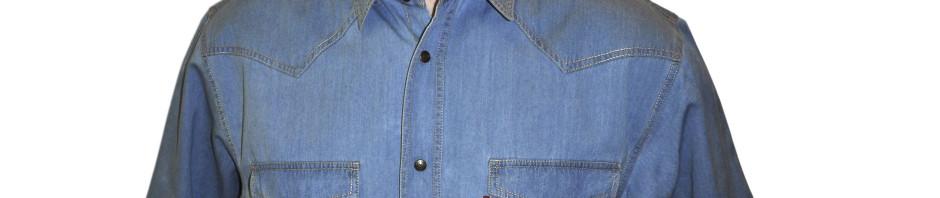 Джинсовая рубашка с коротким рукавом синего цвета очень большого