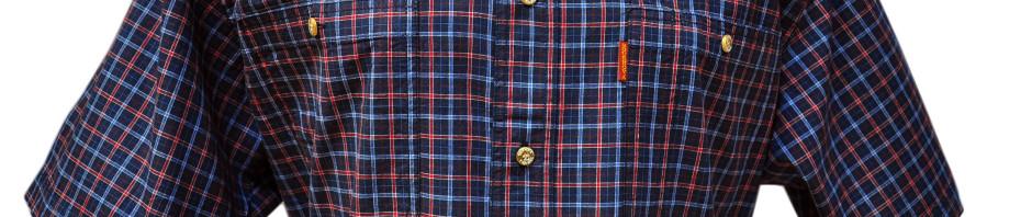 Мужская рубашка с коротким рукавом мелкая бордово-красная клетка