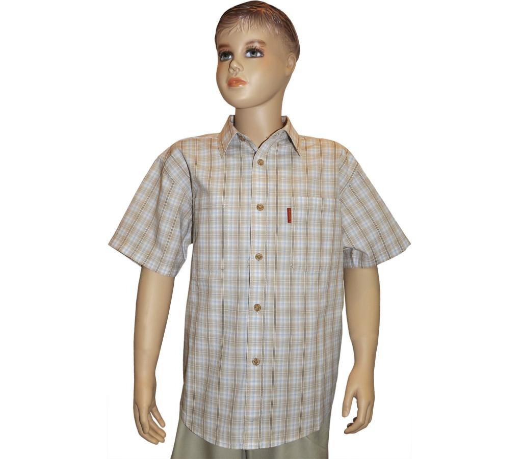 Подростковая рубашка с коротким рукавом в мелкую бежево-синюю