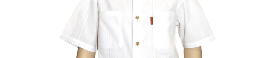 Подростковая рубашка с коротким рукавом белого цвета с импровизированными
