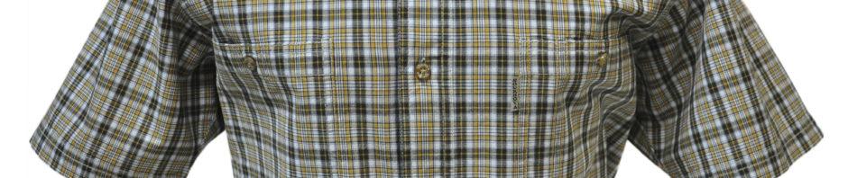 Мужская рубашка короткий рукав в желтую мелкую клетку с серой полосой