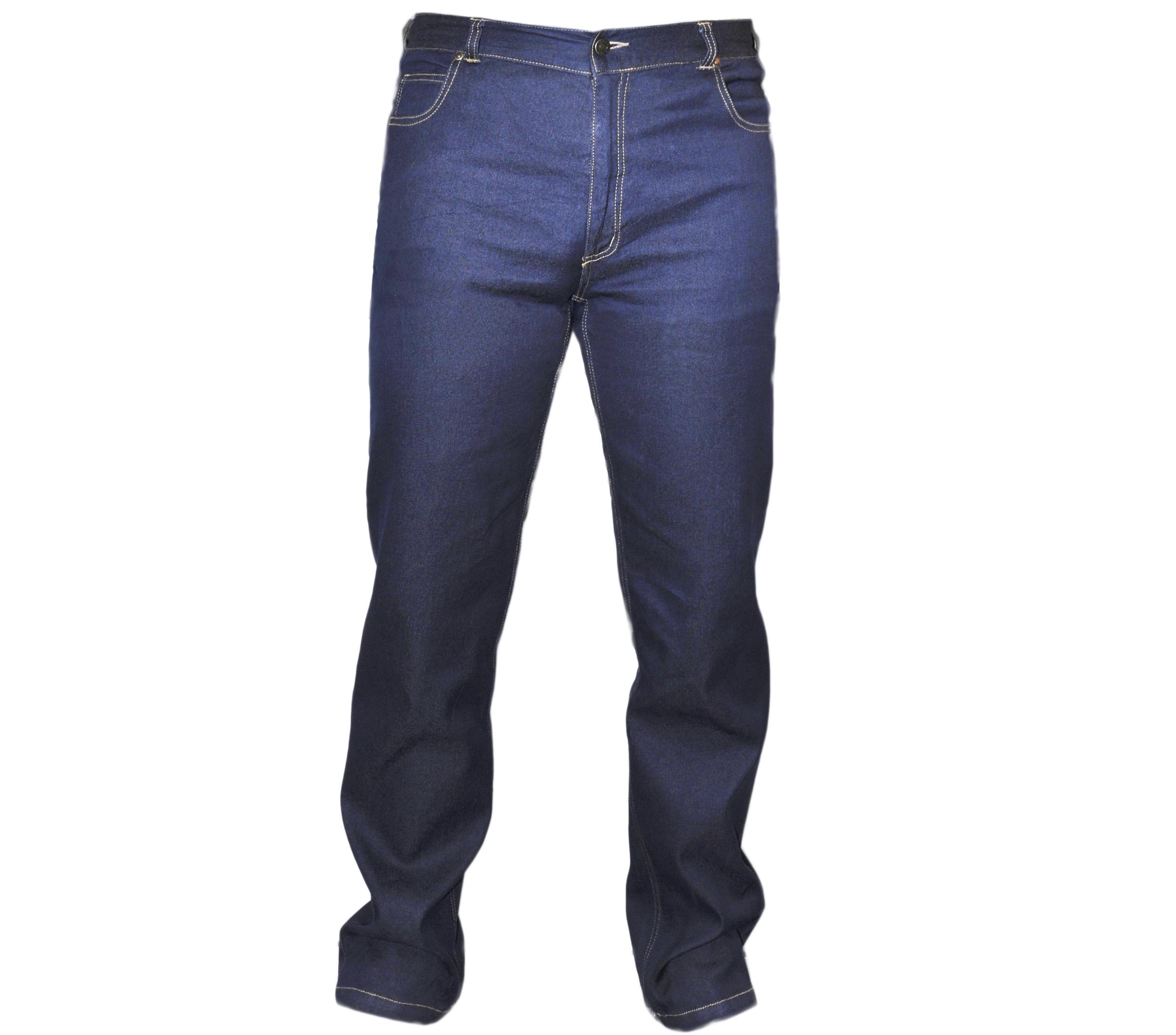 Джинсы-мужские-тонкие-синего-цвета-с-добавкой-полиэстера.