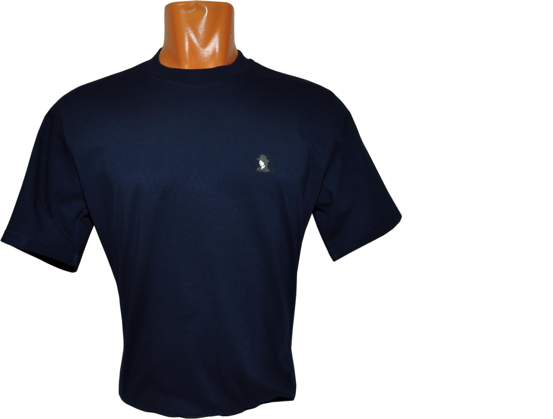 Футболка синяя с небольшим логотипом на левой груди.