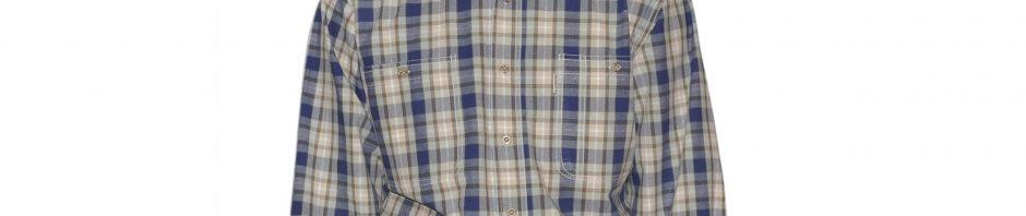Мужская-рубашка-в-зелено-синюю-среднюю-клетку-с-белой-полосой. Крой-модели-свободный, два-больших-кармана. Толщина-материи-16.