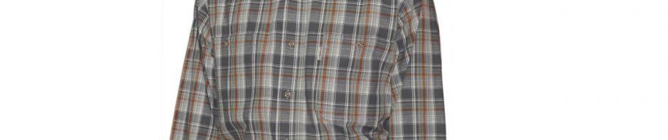 Джинсовая-рубашка-в-серо-зеленую-клетку-с-бело-оранжевой-полосой.