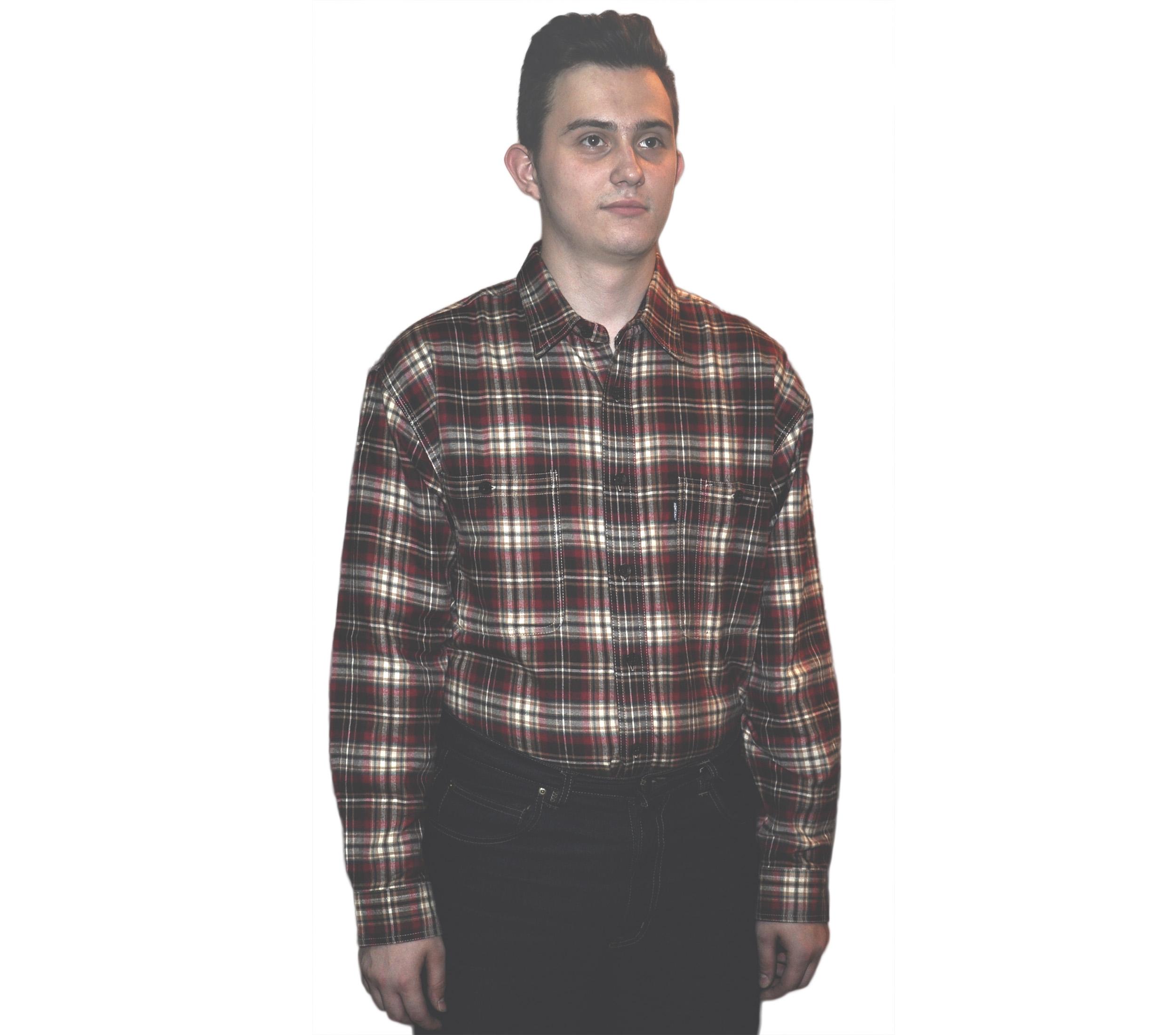 4c52805c160 Мужская джинсовая фланелевая рубашка на подкладке из хлопка