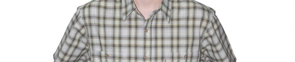 Рубашка с коротким рукавом коричнево зеленая клетка с салатневыми полосами. модель свободного кроя с двумя большими карманами. Материал хлопок, толщина материи 32.