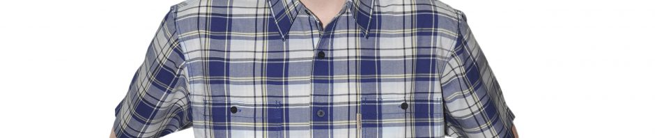 Джинсовая рубашка клетка синего цвета.
