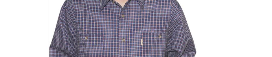 Джинсовая рубашка длинный рукав в мелкую синюю клетку обрамленная серой и бордовой тонкой полоской. Материал хлопок 100%. толщина материи 16.