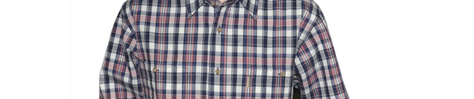 Рубашка длинный рукав с бежево-сине-розовой клеткой, в наличии два больших кармана, толщина материи 16. материал 100% хлопок.