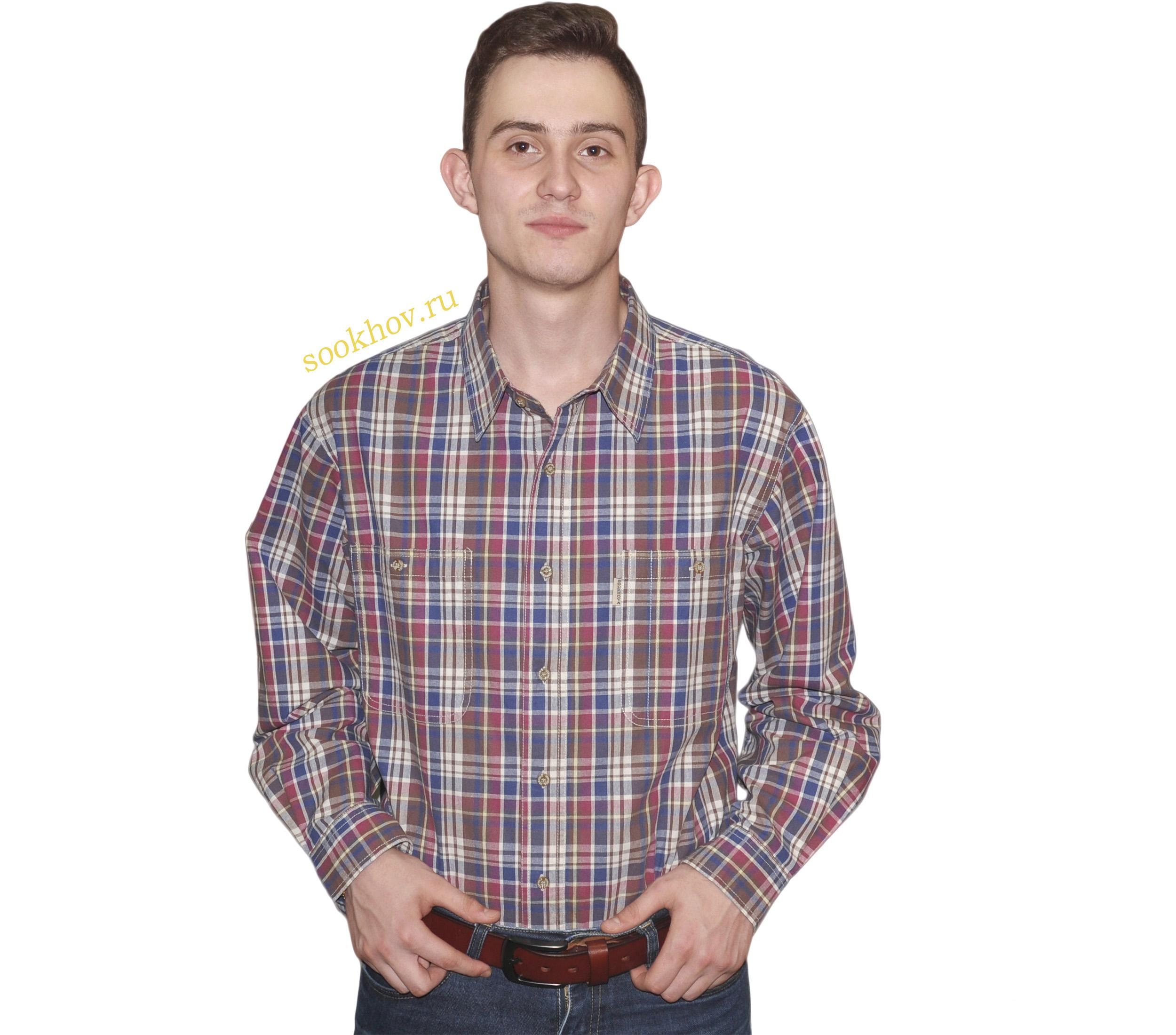 Рубашка с длинным рукавом клетка обладает множественными цветами синий, бордовый. желтый, серый, коричневый. Материал 16, 100% хлопок.