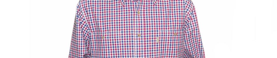 Рубашка с длинным рукавом в мелкую ярко красно-синюю клетку, тодлщина материи 16.