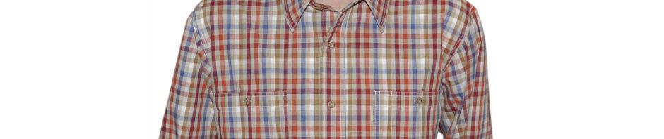 джинсовая мужская рубашка в голубую красную малиновую серую мелкую клетку