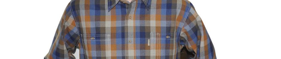Яркая мужская рубашка в крупную оранжево-сине-голубую клетку.