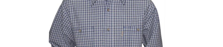 Мужская-рубашка-в-мелкую-серо-синюю-клетку-на-светлом-фоне-с-мелкими-вкраплениями-оранжевых-и-голубых-полосок.