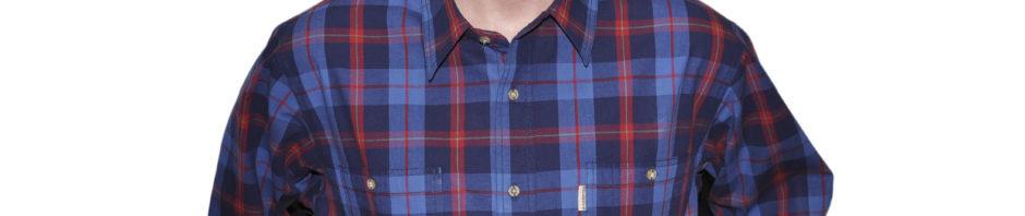 джинсовая рубашка крупная сине-голубая клетка с крупными красными клетками.