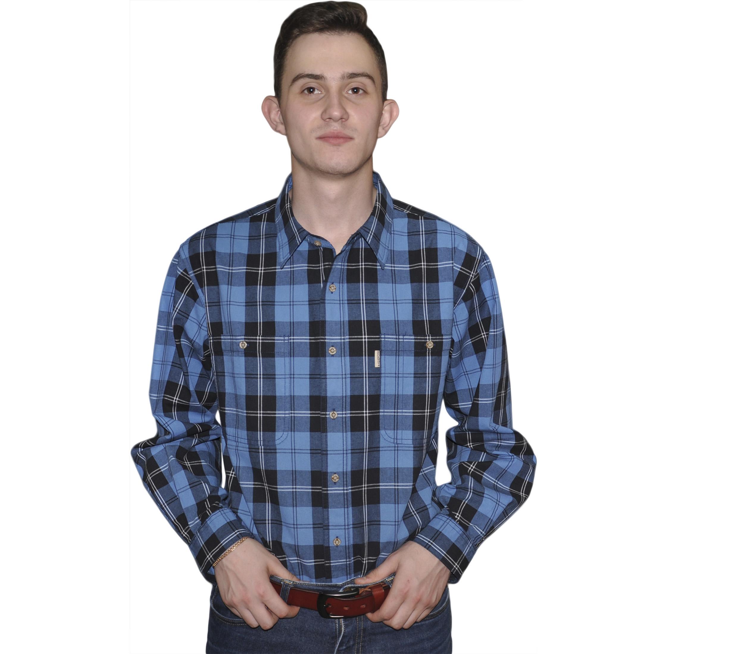 """Мужская рубашка крупная синяя клетка на черном фоне. Толщина материи № 16. размеры от 46 до 56. В этом цвете есть размер 60, но в разделе """"Большие Рубашки"""""""