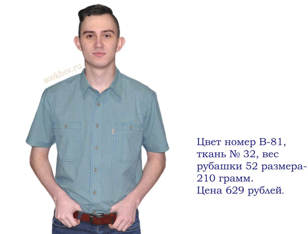 рубашка-короткий-рукав изумрудного цвета с белым мелкая клетка