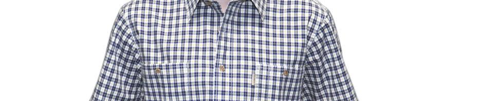 Рубашка белого цвета в среднюю синюю клетку с желтой тонкой полосой.