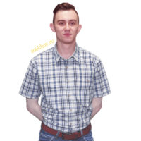 Мужская рубашка сероватого цвета в среднюю синюю клетку