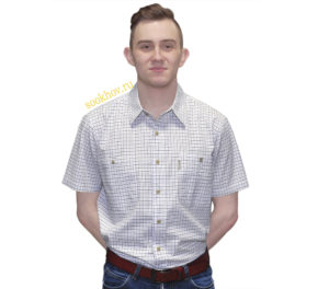 Рубашка мужская белого цвета в мелкую синюю клетку.