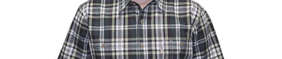 Рубашка мужская в болотного цвета крупную клетку