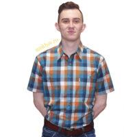 Описание: Рубашка мужская в оранжево-голубую клетку.