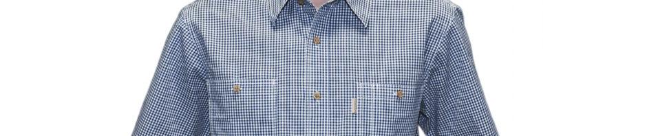 Рубашка мужская в мелкую синюю клетку. Модель с коротким рукавом