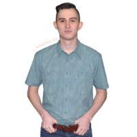 Рубашка мужская в мелкую зеленоватую клетку