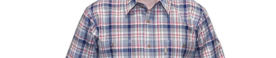 Рубашка в крупную бело-синюю клетку с красной полосой